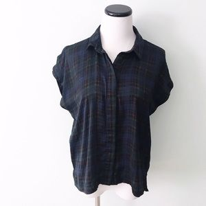 5/$25 TOPSHOP Tartan Plaid Button Down Blouse Navy